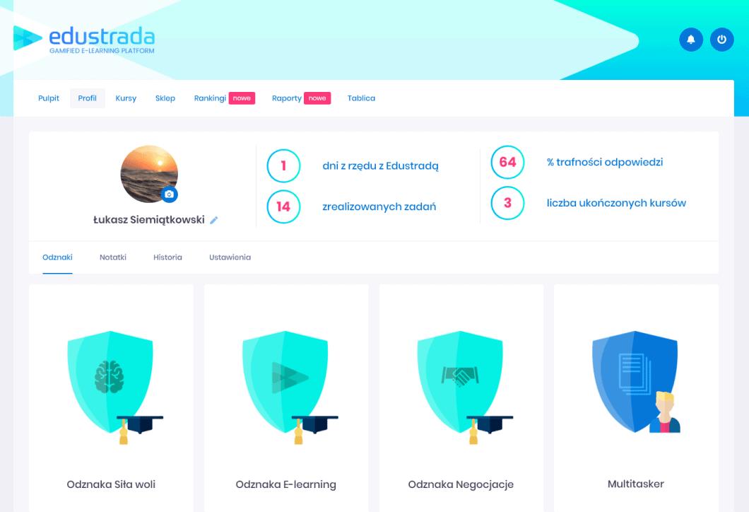 zgrywalizowana platforma edukacyjna Edustrada profil